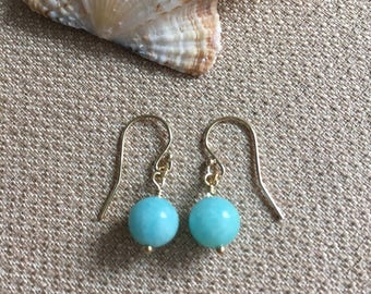 Amazonite Earrings, Aqua Earrings Semiprecious Gemstones 14K Gold Filled French Hook Ear Wires, Blue Beach Earrings Dangle, Minimalist Styl