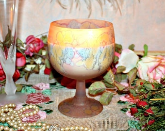 Soy Wax Wedding Centerpiece Goblet,Shabby Chic,Boho,Table Centerpiece,YOUR SCENT CHOICE,Homemade,Hand Poured,Gifts,Pastel,Marbled
