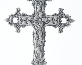 Brass stamping  cross floral  , stamped brass plated silver antiqued,  sold by each 04220AS