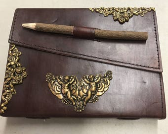 Leather journal embellished metal latches