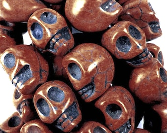 Skull beads Day of the dead skull beads  14x18mm Skull Beads, about 25 beads per 16in strand OE0800D