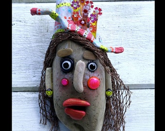 Wanda Wears a Whacky Hat, Three dimensional art, OOAK, painted driftwood, beach art, fused glass, assemblage