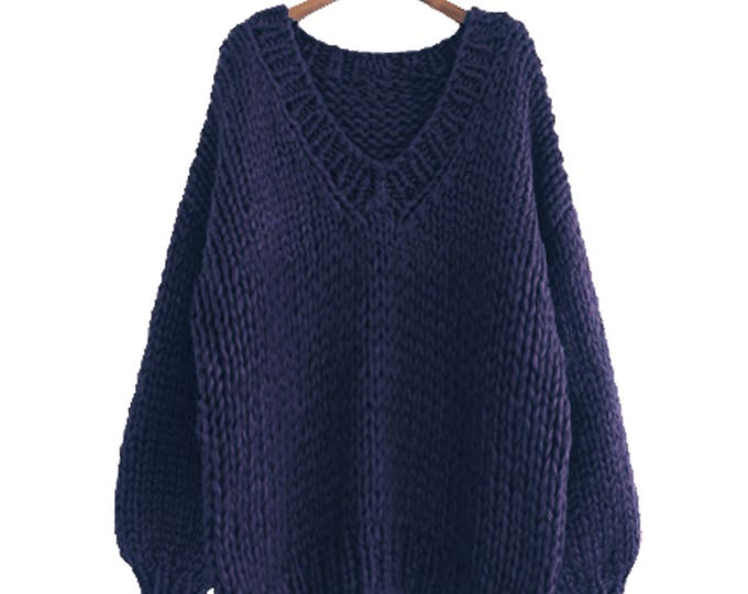 Hand knit oversize woman sweater V-neck slouchy wool navy sweater