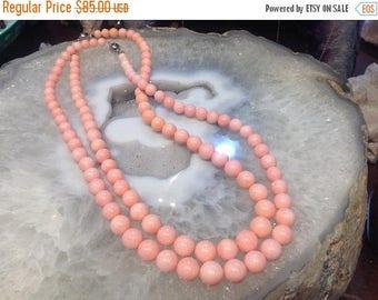 50% Mega Sale Graduated Peach Coral Gemstone Beads Necklace