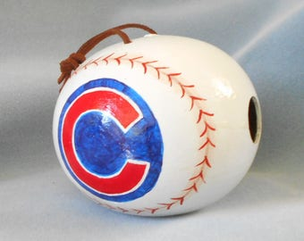 Chicago Cubs Baseball Hand Painted Bird House Gourd