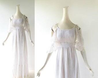 20% off sale Vintage Gunne Sax Dress | White Gauze Dress | 1970s Dress | XS