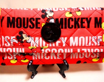 Mickey Mouse Wallet / Quilted Wallet / Fabric Wallet / Trifold Wallet / Womens Wallet / Handmade Wallet