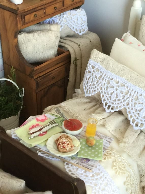 Rustic Prairie Miniature Dollhouse Breakfast Tray-1:12 scale