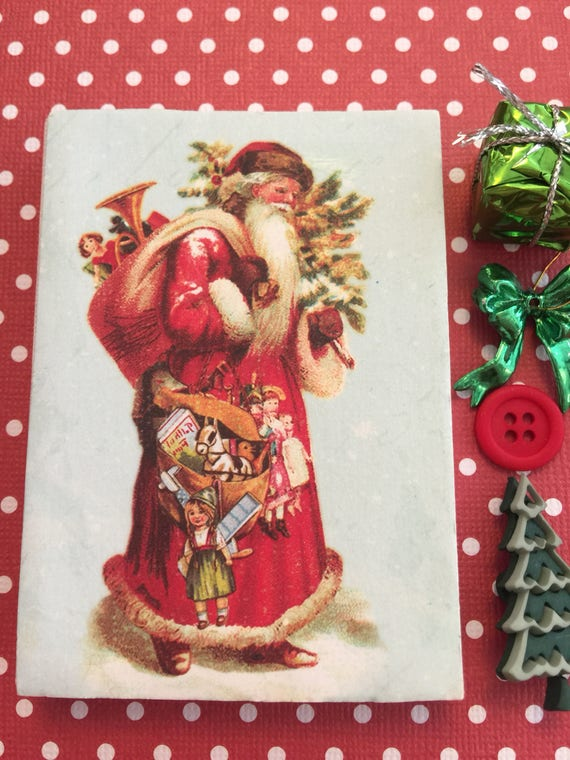 Christmas Old World Santa on Canvas and Miniature Accessories