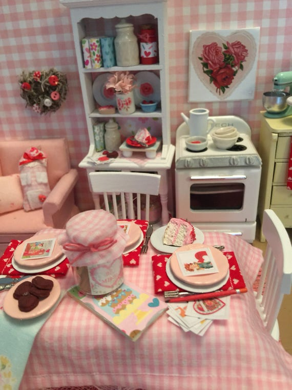 Miniature Valentine Table Chairs and Table Setting for Three Dollhouse Scale