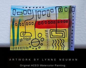 ACEO Original Hand-Painted One-of-a-Kind Abstract Mini Watercolor Signed Painting by Lynne Neuman #4361 OOAK Miniature Small Format Art ATC
