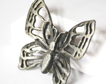 Metzke Butterfly Brooch Silver toned Pewter vintage