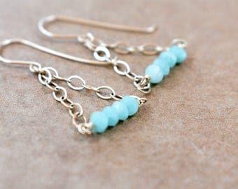 amazonite and gold filled chain earrings. aqua and gold earrings. amazonite bar earrings with gold filled chain. gold and blue earrings