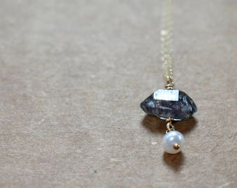 natural black herkimer quartz crystal & pearl pendant necklace. gold filled chain. rutile crystal quartz pendant necklace. crystals