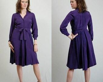 SALE 25% off sundays Silk Dress Vintage 70s 80s Dark Plum Draped Silk Satin Secretary Office Dress (s)