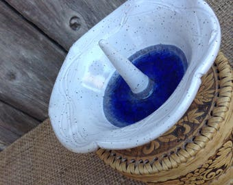 White Speckled Ring Jewelry Dish with Blue Glass