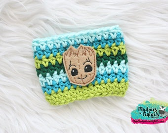 Tree Cup Cozy { Baby Groot } Summer, earth day Inspired guardians of the galaxy, park bound, knit mug sweater, starbucks lime green, aqua