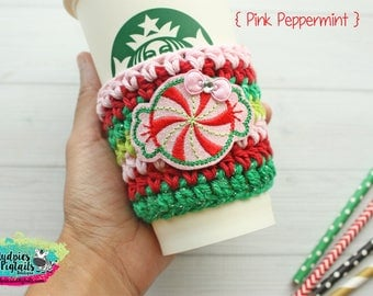 Christmas Coffee Cozy { Pink Peppermint } holiday candy glitter stripe cup holder, cup sleeve, hot cocoa, mug sweater, tea cup, planner girl