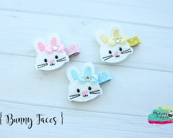 Easter  Hair Clippies  { Bunny Faces }  spring, bunny rabbits, hair bow mommy daughter Hair Clip, Barette, Holiday No Slip