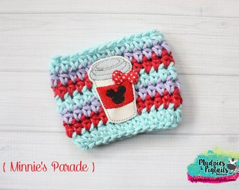 Mouse Coffee Cup Cozy { Minnie's Parade } red, lavender aqua Summer Coffee frappuccino sleeve, stocking stuffer, birthday gift