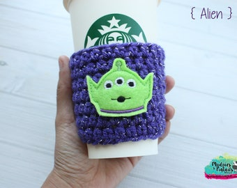 Toy Story Crochet Coffee Sleeve { Alien } monster, buzz lightyear black, green cup cozy, knit mug sweater, starbucks gift, mug holder