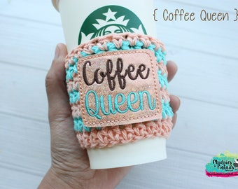 Crochet Mug Cup Cozy { Coffee Queen } coffee lover, peach, brown adulting mom life, mug sweater, starbucks, water bottle, crochet