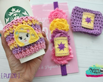 Tower Princess Collection { Punzie } rapunzel beauty, princess Coffee frapuccino sleeve, stocking stuffer, or plastic cups