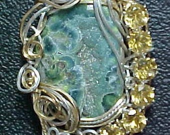 Wavellite And Citrine Wire Art Pendant in Sterling Silver And Gold - See All The Details And Possibilities In A Situation More Clearly