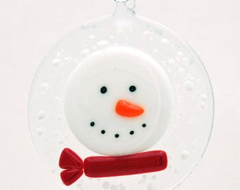 Glassworks Northwest - Frosty the Snowman with a Red Scarf in a Snowstorm - Fused Glass Ornament