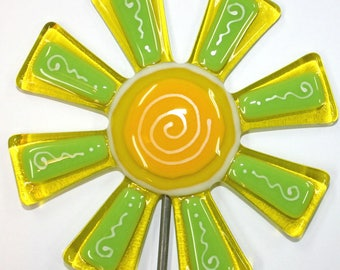 Glassworks Northwest - Brilliant Yellow and Lime Flower Stake - Fused Glass Garden Art