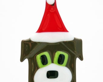 Glassworks Northwest - Brown Dog with Santa Hat - Fused Glass Ornament