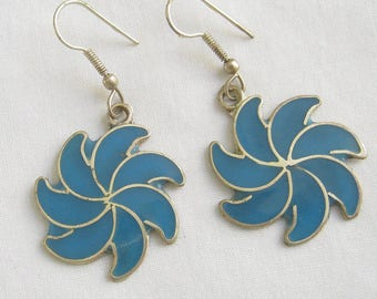 Vintage Mexico Alpaca Silver and Blue Enamel Spiral Dangle Earrings