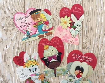Set of 5 Vintage 1970s Valentine School Cards, Bunny, Eskimo, Dutch, Humpty Dumpty