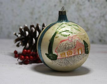 Antique Christmas Ornament- Hand Painted HOUSE- Iridescent BALL- Holiday Decorating Glitter- Antique Ornament Painted