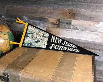 Vintage PENNANT- Felt Souvenir Flag- New Jersey Turnpike Pennant- Black & White Highway Travel
