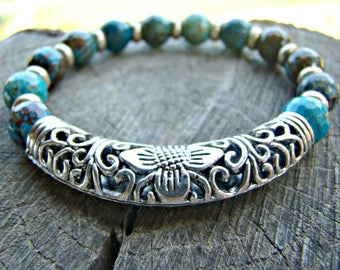 Turquoise Bracelet, Stretch Bracelet, Gemstone Beaded Bracelet, Turquoise Gemstone Beaded Bracelet, Silver Bracelet, Ornate, Stone Bracelet