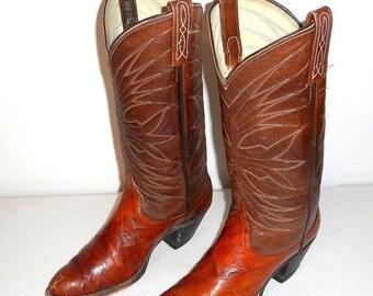 Womens 7.5 C Cowboy Boots Dan Post Cowgirl Shoes Vintage Exotic Retro Western Boho