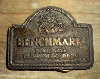 Benchmark Bourbon Belt Buckle Sour Mash Vintage Distressed Indiana Metal Craft
