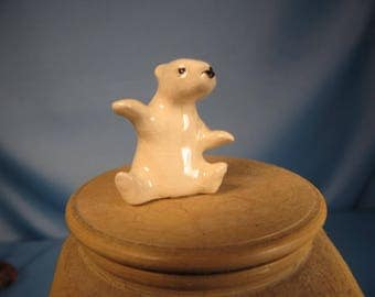 MINIATURE POLAR BEAR of fine China, Tiny one inch tall China Figurine, small polar bear statue, Snow white Fine China Polar Bear figure,bear