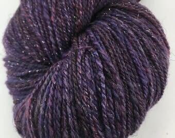 "Handspun Yarn ""Glitzy Grape"" Fingering Targhee & Silk 400 yds."