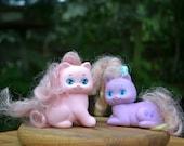 Pair of 1989 Little Pretty Kitties, by Mattel