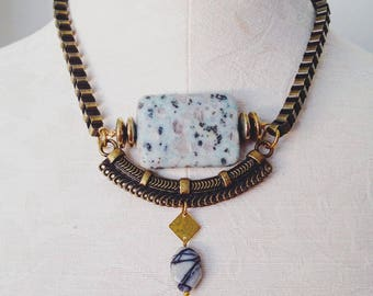 Jasper mint green necklace, statement necklace, stone necklace