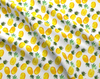 Watercolor Yellow Pineapple Fabric - Pineapples By Katerinaizotova - Watercolor Summer Pineapple Cotton Fabric By The Yard With Spoonflower