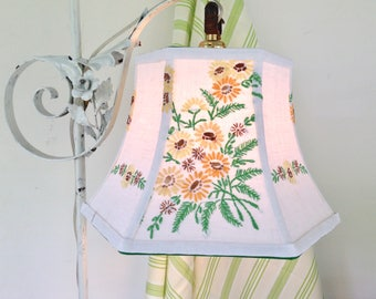 Daisy Uno Lamp Shade, Lampshade made from Vintage Embrodiery in Green and Yellows, For threaded socket on floor lamps, Bridge Lampshade