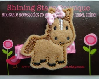 Hair Accessories - Felt Hair Clips - Light Brown Embroidered Felt Horse Hair Clippie For Girls - Farm Animal