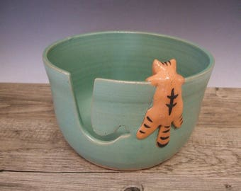 Yarn Bowl with Cute Tabby Cat in Matt Turquoise by misunrie