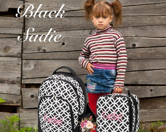 Clearance SALE/ GIRLS personalized backpack , Back To School , kids backpack , lunch box, BLACK Sadie, monogrammed backpack