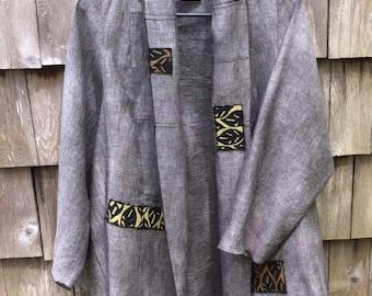 Linen Jacket.Natural Linen Coat/Spring Linen Coat/ 100% Linen/ Ready to Ship