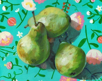 3 Pears on a floral colourful blue fabric - acrylic ORIGINAL painting on canvas - Drawing Still Life - wall art- wall decor- home decor