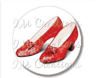 """25% OFF - Pocket Mirror, Magnet or Pinback Button - Wedding Favors, Party themes - 2.25""""- Wizard of Oz Ruby Red Slippers MR411"""